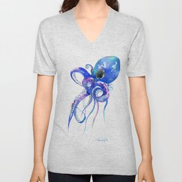 Octopus, blue purple marine colors beach house octopus artwork Unisex V-Neck