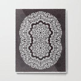 Proceed Mandala    Black and White    Linework Metal Print
