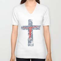 jesus V-neck T-shirts featuring Jesus by biblebox