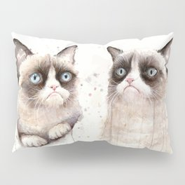 Grumpy Watercolor Cats Pillow Sham