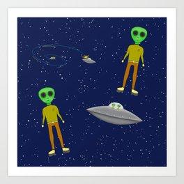 Cool Alien Visitors From the Stars UFO Pattern Art Print