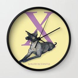 X is for Xoloitzcuintli: Under Appreciated Animals™ ABC nursery decor soft yellow unusual animals Wall Clock