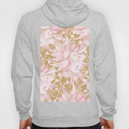Pastel pink white gold glitter watercolor floral  Hoody