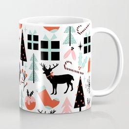 Christmas ornaments minimal holly reindeer candy cane christmas tree pattern print Coffee Mug