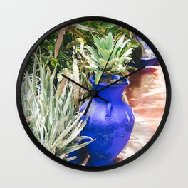 Blue Flower Pot - Tropical Botanical Garden Wall Clock
