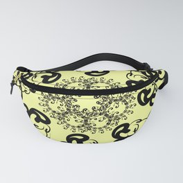 black florid pattern. black florid pattern on pale yellow background Fanny Pack