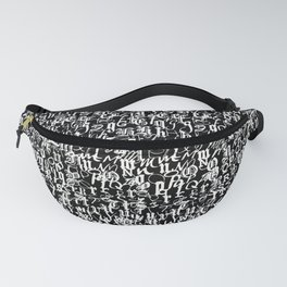 alphabet letters black and white - typography font  pattern Fanny Pack