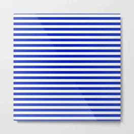 Cobalt Blue and White Thin Horizontal Deck Chair Stripe Metal Print
