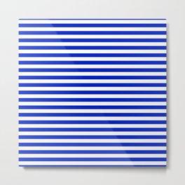 Cobalt Blue and White Thin Horizontal Deck Chair Stripe Metal Print