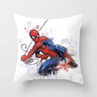 spider man Throw Pillows featuring Spider-Man  by Isaak_Rodriguez
