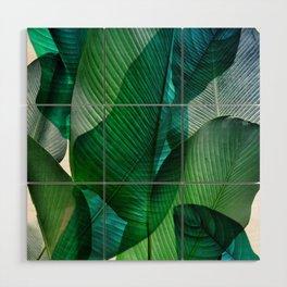 Palm leaf jungle Bali banana palm frond greens Wood Wall Art