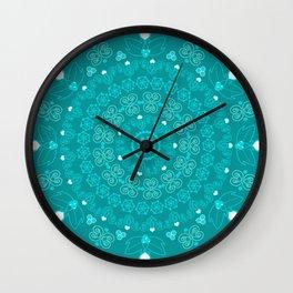 Teal Berries & Hearts Wall Clock