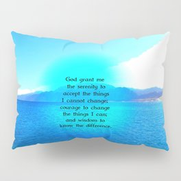 Serenity Prayer With Blue Ocean and Amazing Sky Pillow Sham