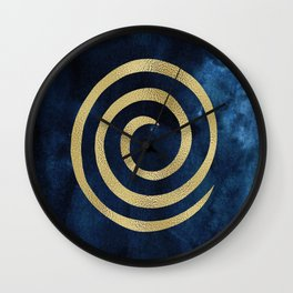 Infinity Navy Blue And Gold Abstract Modern Art Painting Wall Clock