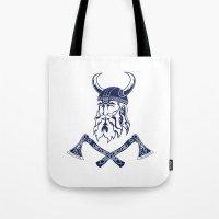 viking Tote Bags featuring Viking by Spiro Vasilevski