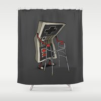gamer Shower Curtains featuring Old Gamer by Gintron