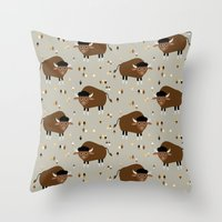 buffalo Throw Pillows featuring Buffalo by Heleen van Buul