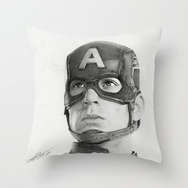 Portrait Drawing of Capt. America Throw Pillow