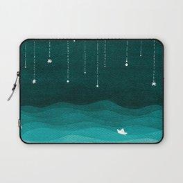 Falling stars, sailboat, teal, ocean Laptop Sleeve