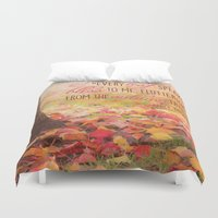 poem Duvet Covers featuring Autumn Leaves Poem by Graphic Tabby