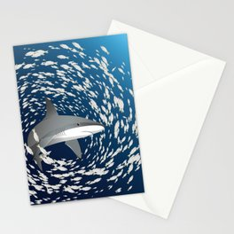 Reef shark and school of fish Stationery Cards