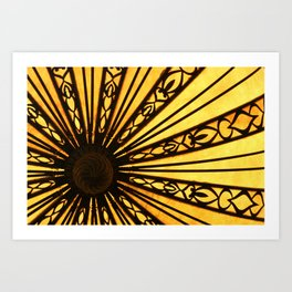 Yellow and Black Abstract Photographic Print Radial Lines Pattern Art Print