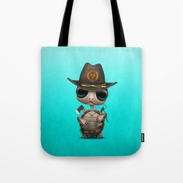 Baby Turtle Zombie Hunter Tote Bag
