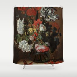 """Jacob Marrel """"Flowers in a glass vase"""" Shower Curtain"""