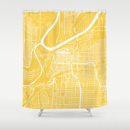 Kansas City map yellow Shower Curtain