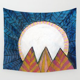 Moon Over Mountains at Dusk Wall Tapestry