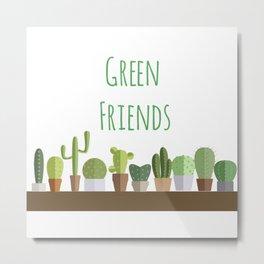 Cactuses poster: Green friends Metal Print