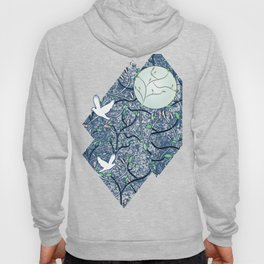 Art Nouveau Moon with Doves (Blue and Silver) Hoody