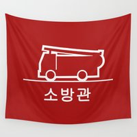 korea Wall Tapestries featuring Keep Clear - Korea by Crazy Thoom