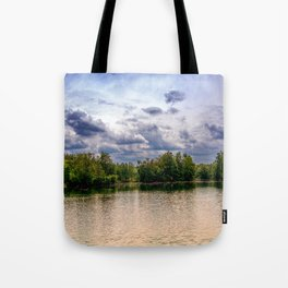 Concept nature : Relaxing by a lake Tote Bag