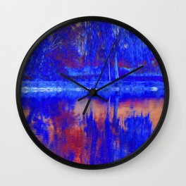 reflection of tree on water Wall Clock