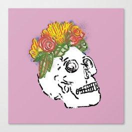 SKULL & FLOWERS - PINK Canvas Print
