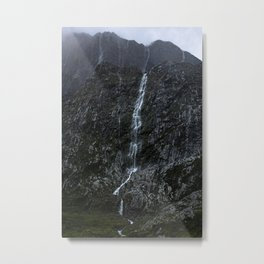 Giant Waterfall in the Storm, Fiordland New Zealand Metal Print