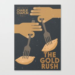 The gold rush, movie illustration, Charlie Chaplin film, vintage poster, Charlot, b&w cinema Canvas Print
