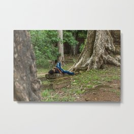 Afternoon Nap Near Baphuon Temple, Angkor Thom, Siem Reap, Cambodia Metal Print