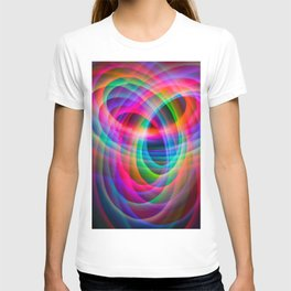 Spirograph rainbow light painting T-shirt