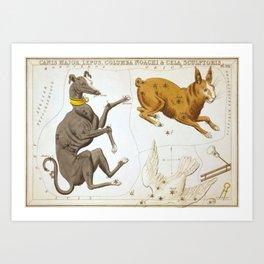 Sidney Hall - Urania's Mirror (1824) - Canis Major, Lepus, Columba Noachi & Cela Sculptoris Art Print