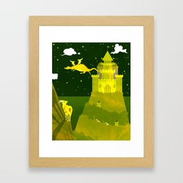 Fantasy castle on a green - yellow night Framed Art Print