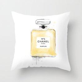 Perfume bottle fashion yellow Throw Pillow