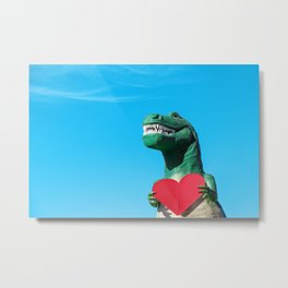 Tiny Arms, Big Heart: Tyrannosaurus Rex with Red Heart Metal Print