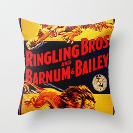 Vintage Circus Poster - Tiger & Lion Throw Pillow
