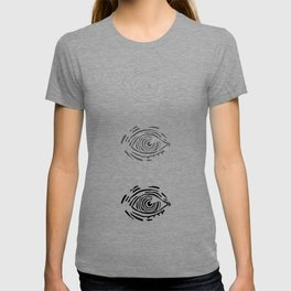 Fading eye // hatching eye rubber carved stamp T-shirt