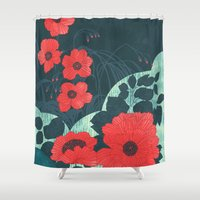 ruby Shower Curtains featuring Ruby by Tracie Andrews