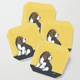 Beagle Puppy Portait by Friztin Coaster