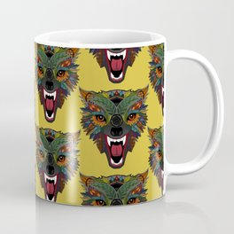 wolf fight flight ochre Coffee Mug