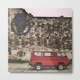 Red Van with Skull Metal Print